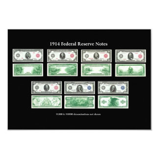 1914 Federal Reserve Notes Chart 3.5x5 Paper Invitation Card