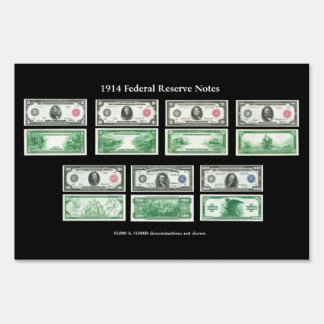 1914 Federal Reserve Notes Chart Yard Sign