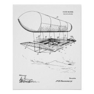 1914 Flying Machine Patent Art Drawing Print