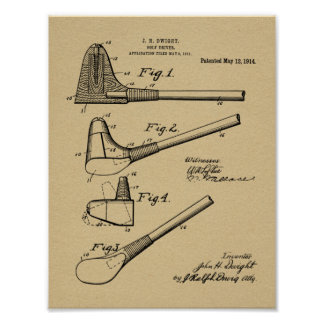 1914 Golf Club Driver Design Patent Art Print