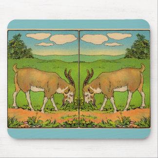 1914 grazing billygoat illustration mouse pad
