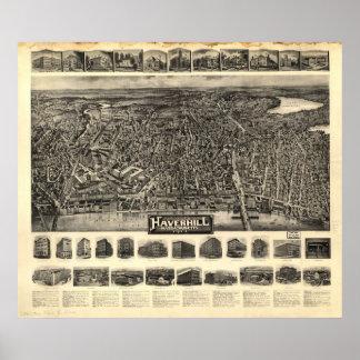 1914 Haverhill, MA Birds Eye View Panoramic Map Print