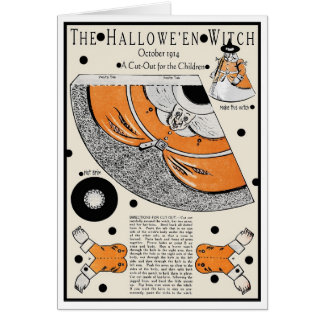 """1914!!! """"I GO TO PIECES FOR HALLOWEEN"""" CUT OUT CARD"""