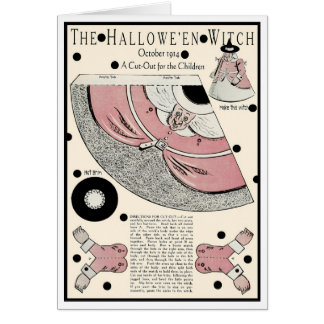 """1914! """"I GO TO PIECES FOR HALLOWEEN"""" WITCH CUT OUT CARD"""