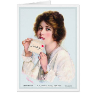 """1914!! """"JUST FOR YOU"""" VALENTINE GREETING CARD"""