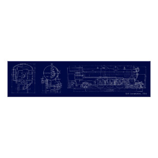 1914 K4S Blueprint Drawing Poster