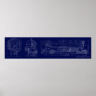 1914 K4S Blueprint Drawing Poster