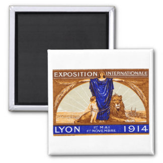 1914 Lyon International Expo Poster 2 Inch Square Magnet