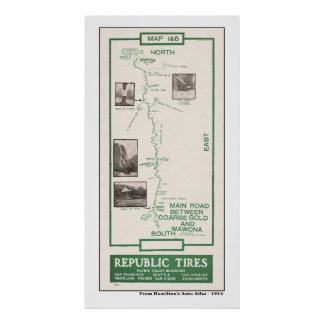 1914 Map, Coarse Gold to Wawona, Yosemite Poster