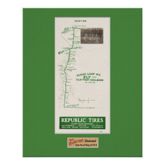 1914 Map, Fort Shelborn, Ely, and Sugar Loaf Mt Poster