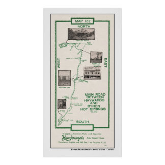 1914 Map, Haywards to Byron Hot Springs Poster