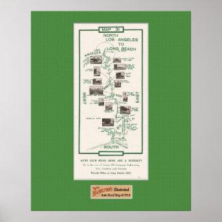 1914 Map, LA to Long Beach Print