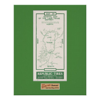 1914 Map of Lake Tahoe Print
