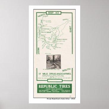 shaughey 1914 Map, Pebble Beach, 17 mile drive, Carmel Poster
