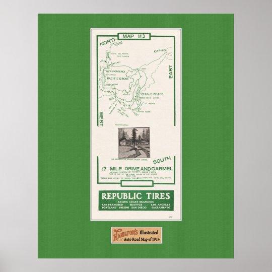 1914 Map, Pebble Beach, 17 mile drive, Carmel Poster