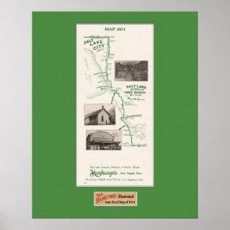 1914 Map, Salt Lake City and Orr's Ranch Print