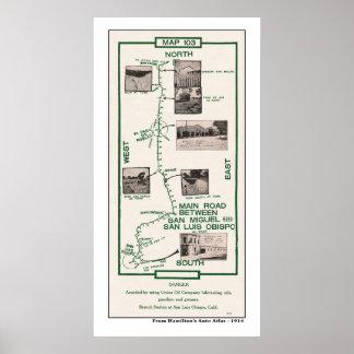1914 Map, San Miguel to San Luis Obispo Poster