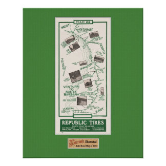1914 Map, Santa Barbara to Ventura Print