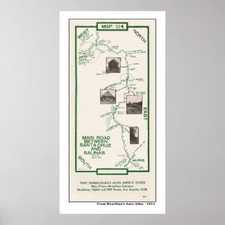 1914 Map, Santa Cruz to Salinas Poster