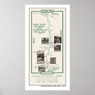 1914 Map, SF to Petaluma Posters