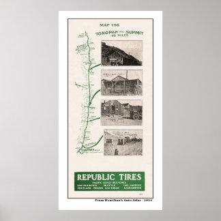 1914 Map, Tonopah and Hot Creek summit Poster