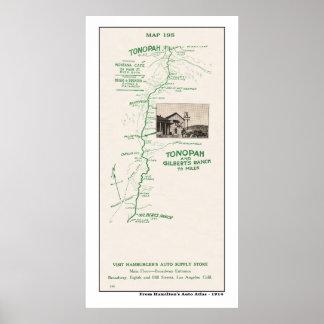 1914 Map, Tonopah to Gilbert's Ranch Poster