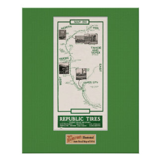 1914 Map, Truckee to Verdi Posters