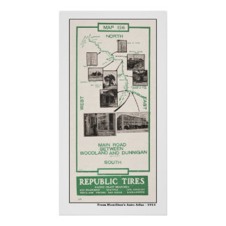 1914 Map, Woodland to Dunnigan Poster