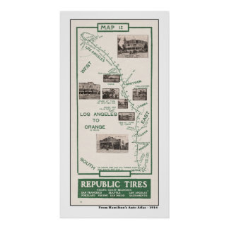 1914 mapa LA al naranja Posters