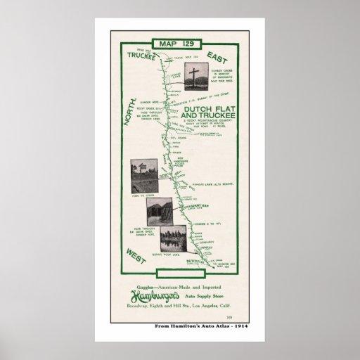 1914 mapa, plano holandés a Truckee - poster