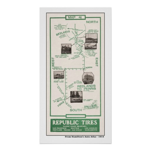 1914 mapa, Redlands a Perris Impresiones