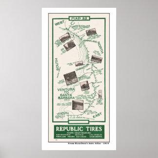 1914 mapa, Santa Barbara a Ventura Póster