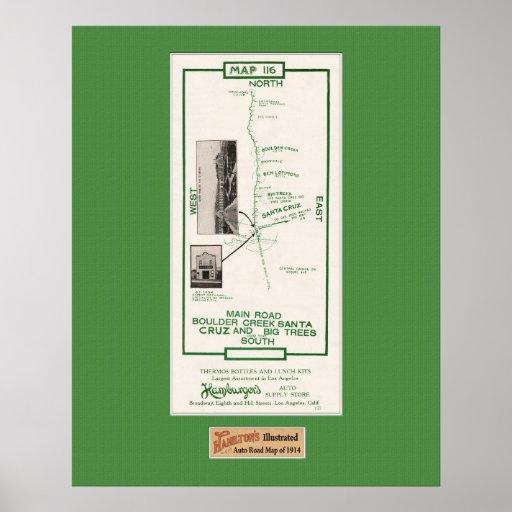 1914 mapa, Santa Cruz a la cala de Boulder Poster