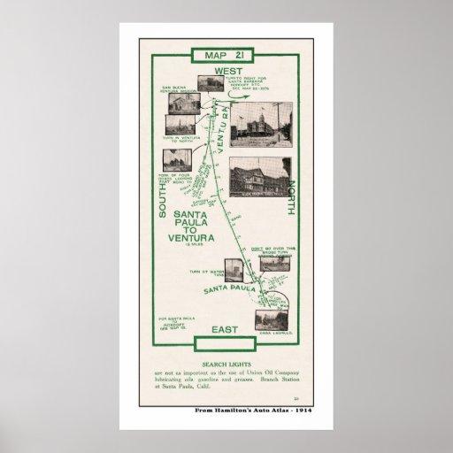 1914 mapa, Santa Paula a Ventura Impresiones