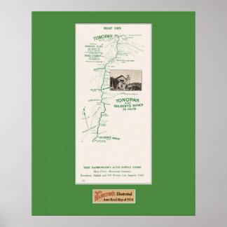 1914 mapa, Tonopah al rancho de Gilbert Póster