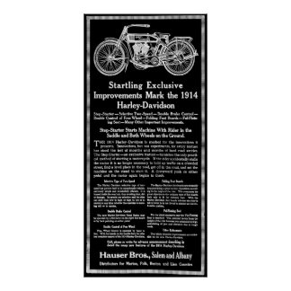 1914 MOTORCYCLE AD POSTER