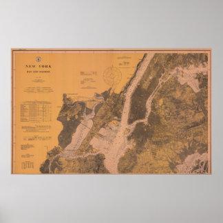 1914 New York Upper Harbor Nautical Chart Poster