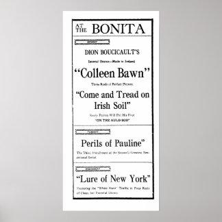 1914 Pearl White Perils of Pauline Movie Ad Print