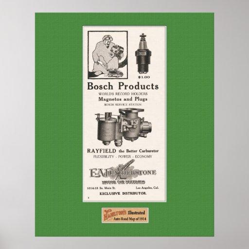 1914 piezas de automóvil del anuncio - Bosch Póster