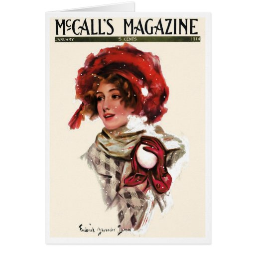 """1914!!! """"SNOW PLAY""""  MCCALLS COVERART GREETING CARD"""