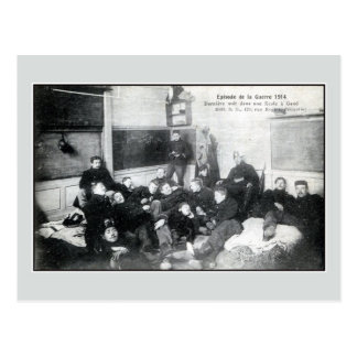 1914 Soldiers spending the night in a Ghent school Postcard