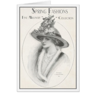 """1914!!! """"SPRING MILLINERY"""" ADVERTISEMENT GREETING CARD"""