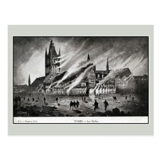 1914 The Cloth hall on fire in Ypres by J. Clavet Postcard