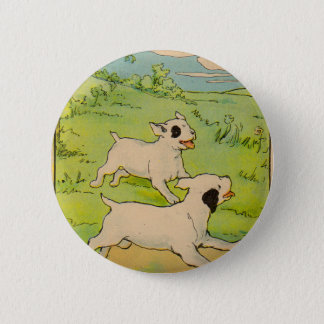 1914 two dogs running button