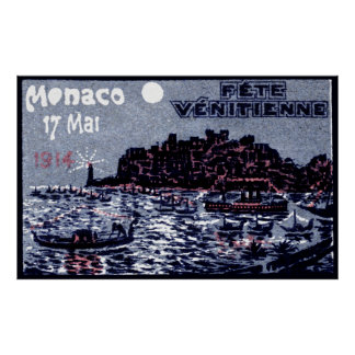 1914 Venetian Festival of Monaco Print