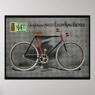 1914 Vintage Elgin King Bicycle Ad Art Poster