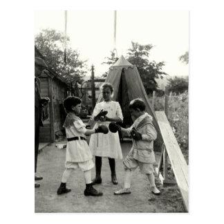 1915 Backyard Boxing Match Postcard