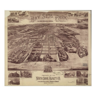 1915 Bayside Park Queens, NY Panoramic Map Poster