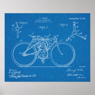 1915 Bicycle Transmission Design Patent Art Print