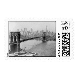 1915 Brooklyn Bridge and Manhattan New York City Postage